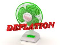DEFLATION- Green Fan propeller and bright color letters Royalty Free Stock Image