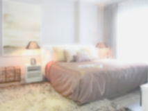 Defocus background bedroom in lively style decoration Stock Photos