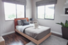 Defocus background bedroom in lively style. Decoration Stock Images