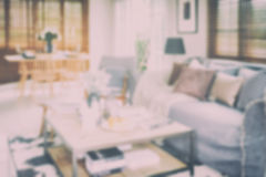 Defocus background interior living room with dining table. At home Royalty Free Stock Photos