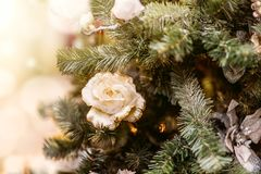 Defocus beautiful decorations on a Christmas tree Stock Images