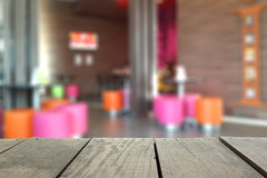Defocus and Blur background of terrace wood coffee shop. And interia for background Royalty Free Stock Image