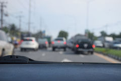 Defocus or blur background with traffic urban road. Inside view. Stock Photography