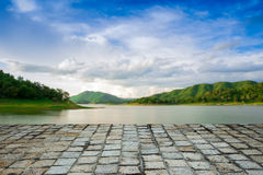 Defocus and blur image of terrace stone Stock Photography
