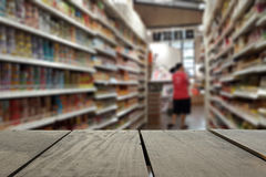 Defocus and blur image of terrace wood and Supermarket Stock Photo