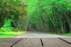 Defocus and blur image of terrace wood and tree tunnel for backg. Round usage Stock Photo