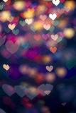 Defocus bokeh light filtered heart background. Colourful defocus bokeh  light filtered heart abstract background Royalty Free Stock Photography