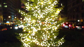 Defocus Christmas Tree in the City stock footage