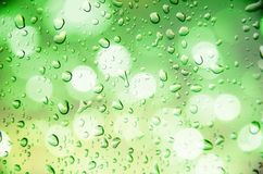 Defocus of light with green background. Defocus of light with green  background and drop water Stock Images