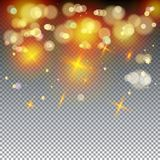 Defocus lights magic wallpaper. Gold abstract bokeh background, shiny defocus lights vector. Gold defocused sparkles, blurred,glowing effect transparent, magic Stock Image