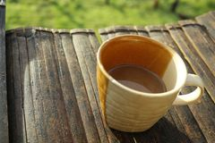 Defocus oc a cup of coffee Stock Image