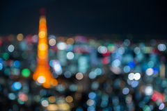 Defocus Of Tokyo Tower Night Cityscape Stock Images