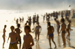 Defocus Silhouettes of Carioca Brazilians Ipanema Beach Sunset Royalty Free Stock Photos