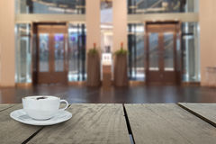Defocus with terrace wood and cappuccino coffee with elevators Stock Image