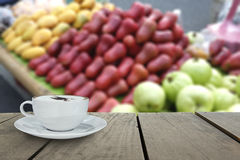 Defocus with terrace wood and cappuccino coffee in fruit market Royalty Free Stock Images