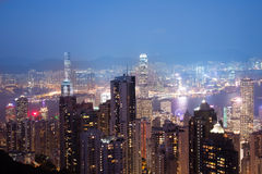 Defocus ,View from Victoria Peak to the business borough and the. Gulf in Hong Kong Royalty Free Stock Photos
