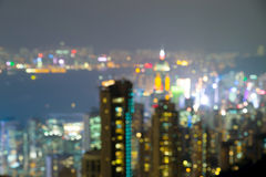 Defocus ,View from Victoria Peak to the business borough and the Royalty Free Stock Image