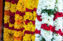 Defocus on the Yellow Marigold garland - India Thailand traditio Royalty Free Stock Images