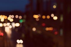 Defocused的艺术风格-,被弄脏的都市抽象交通背景 免版税库存图片