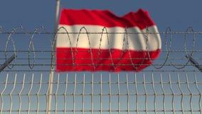 Defocused развевая флаг Австрии за загородкой колючей проволоки 3D анимация Loopable акции видеоматериалы