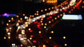 Defocused του φωτός του αυτοκινήτου, Σαγκάη, Κίνα απόθεμα βίντεο