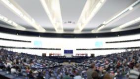 Defocused взгляд нерезкости hemicycle Европейского парламента большого акции видеоматериалы