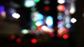 Defocused город Таймс площадь NYC освещает, нерезкости сток-видео