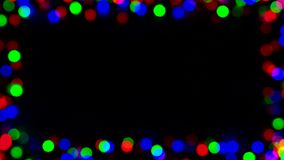 Defocused или запачканное медленное проблескивая круглое bokeh светов, круги в рамке с безшовный закреплять петлей видеоматериал