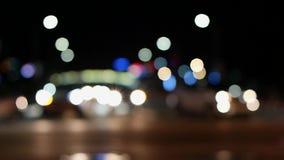 Defocused предпосылка светофоров ночи, съемка в Южной Корее сток-видео