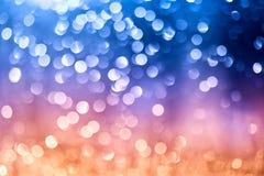 Defocused света света - голубого, розового и оранжевого СИД на черной предпосылке Фото Bokeh света СИД Синь и янтарь Teal и фиоле Стоковое Изображение