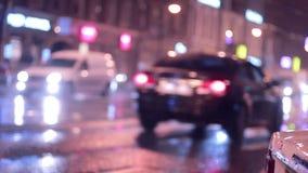Defocused светофоры ночи видеоматериал