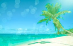 Defocused тропический пляж Совершенная предпосылка каникул стоковая фотография