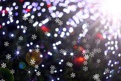 Defocused abstract licht bokeh en de achtergrond van gloedkerstmis Stock Fotografie