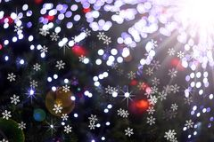 Defocused abstract light bokeh and flare christmas background Stock Photography
