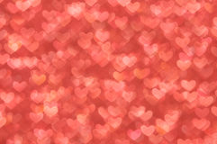 Defocused abstract red hearts light background Royalty Free Stock Photos