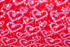 Defocused abstract red lights with heart background Royalty Free Stock Photos