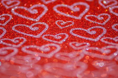 Defocused abstract red lights with heart background Royalty Free Stock Photo