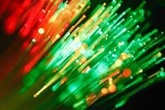 Defocused abstrakcjonistyczny tło włókno światłowodowe kable Obrazy Royalty Free
