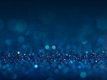 Defocused abstrakt begreppblått tänder bakgrund Bokeh lampor Arkivfoto