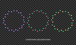 Defocused abstrakt julbakgrund Den realistiska mångfärgade kransen för nytt år och Xmas kryddar Glödande isolerade skinande ljus  vektor illustrationer