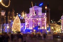 Defocused abstrakter Weihnachtshintergrund Lizenzfreies Stockbild