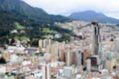 Defocused aerial view to Bogota city - perfect business background Royalty Free Stock Images