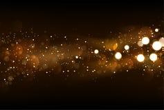 Defocused błyskotliwość zaświeca tło w ciemnym złota i czerni kolorze Obrazy Stock