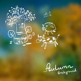 Defocused background of autumn leaves with the sketch Royalty Free Stock Image