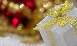 Defocused background with decorative christmas gift box royalty free stock photo