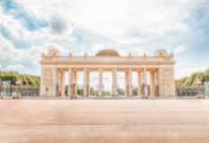 Defocused background with main entrance gate of the Gorky Park, Moscow, Russia Stock Photo