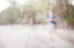 Defocused background , park with walking people Royalty Free Stock Image