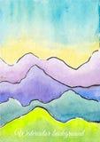 Defocused bakgrund för vektorvattenfärgabstrakt begrepp med berg Arkivbild