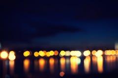 Defocused belysning på natten Arkivbild