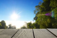 Defocused and blur image of terrace wood and beautiful forest fo. R background usage Royalty Free Stock Photography